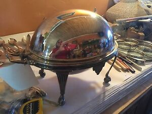 Antique C 1880 English Silver Plated Revolving Vegetable Tureen Wm Hutton