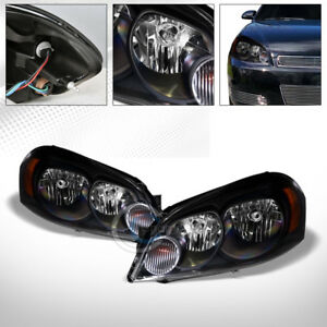 Blk Clear Headlights Corner Signal Lamp Am Dy 2006 2016 Chevy Impala monte Carlo