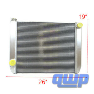 Ford Mopar Universal Aluminum Racing Radiator 2 Row Single Pass 26 X 19 X 3