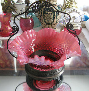 Exceptional Antique Cranberry Opalescent Glass Bride S Bowl Basket Holder