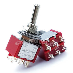 100pcs High Quality 6 Pin Dpdt On on 2 Position Mini Toggle Switches Mts 202 Red