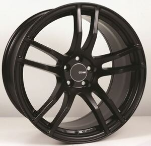 18x8 Enkei Tx5 5x108 45 Black Rims Fits Focus Svt Escort