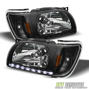 For Black 2001 2004 Toyota Tacoma Drl Led Headlights Built In Corner Lamps 01 04