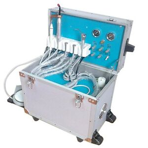 Dental Portable Delivery Unit Rolling Case Curing Light High Low Handpiece 4hole