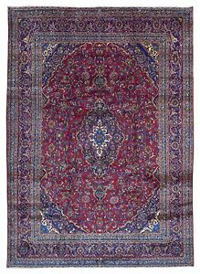 Semi Antique Blue And Red Persian Kashan Oriental Large Area Rug 10 X13