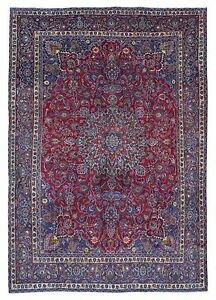 Semi Antique Blue And Red Persian Mashad Oriental Large Area Rug 9 X13