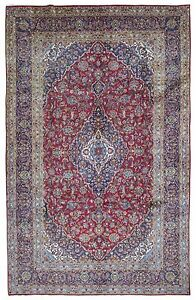 Semi Antique Blue And Red Persian Very Fine Kashan Oriental Large Area Rug 9x14