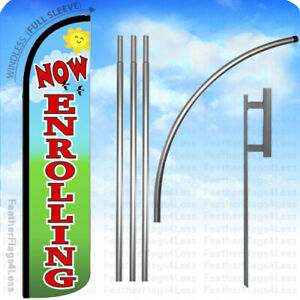 Now Enrolling Windless Swooper Feather Full Sleeve Banner Sign Flag Kit Gz
