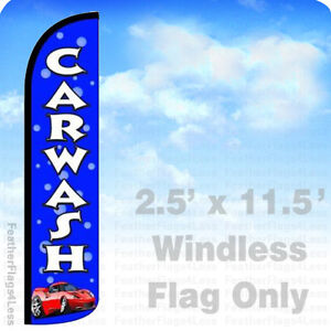Car Wash Windless Swooper Feather Flag 2 5x11 5 Banner Sign Bubbles Bz