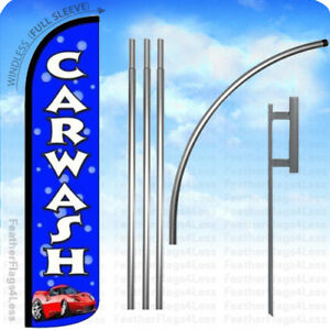 Car Wash Windless Swooper Flag Kit 15 Feather Banner Sign Bubles Bz