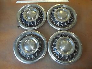 1962 62 1963 63 1964 64 Ford Mercury Hubcap Rim Wheel Cover Hub Cap 15 Wire Set