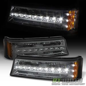Smoke 2003 2006 Chevy Silverado Avalanche Led Drl Bumper Parking Signal Lights