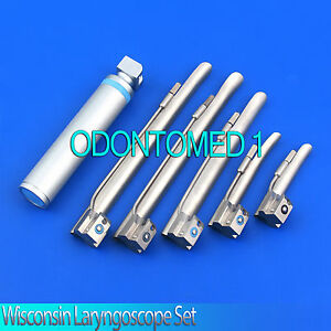 Wisconsin Laryngoscope Set Emt Veterinary Top Quality 6 Pieces