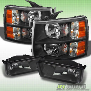 2007 2013 Chevy Silverado Black Headlights smoked Fog Lamps Left right 07 13