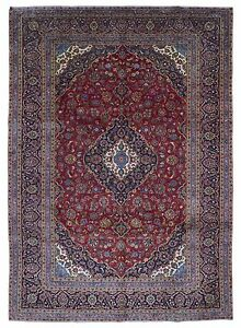 Semi Antique Red And Black Persian Very Fine Kashan Oriental Large Rug 10x14
