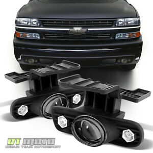 Smoked 1999 2002 Chevy Silverado 00 06 Suburban Tahoe Projector Fog Lights W led