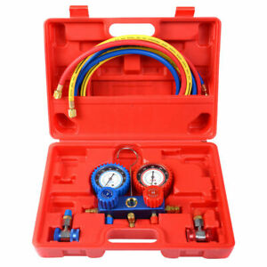 R134a Manifold Gauge Set Ac A c 6ft Colored Hose Air Conditioner W Case Red New
