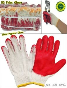 80 Pairs Wholesale Korean Premium Red Latex Palm Coated Cotton Grip Glove
