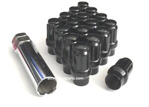 20 Spline Et extended Thread Tuner Lug Nuts 14x1 5 Gloss Black Gmc Chevy Ford