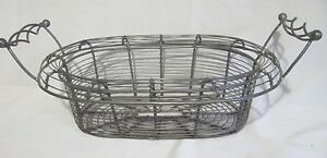 Vintage Primitive Woven Twist Wire Egg Vegetable Gathering Basket W Handles