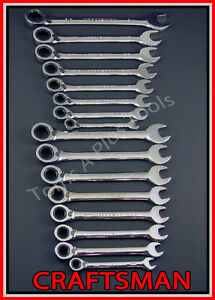 Craftsman 16pc Full Polish Sae Metric Mm Reversible Ratcheting Box Wrench Set
