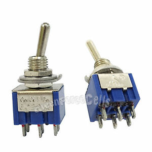 100 Pcs 6 Pin Dpdt On off on 3 Position 6a 250vac Mini Toggle Switches Mts 203