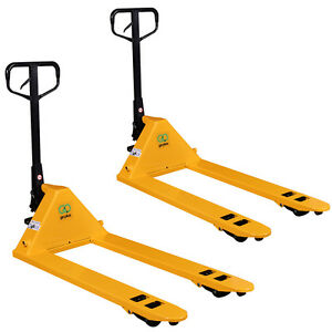 Set Of 2 Hydraulic Pallet Jack Hand Truck 27 x48 5500lbs Capacity Yellow New