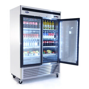 New 2 Glass Door Refrigerator Atosa Mcf8707 1100 Commercial Merchandiser Nsf