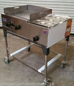 New 36 Taco Cart Plancha Flat Top Griddle Steam Table Propane Lp Gas 1189