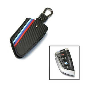 M Colored Stripe Carbon Fiber Leather Key Holder For Bmw X1 X4 X5 X6 5 7 Series