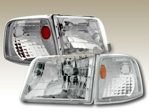 93 97 Ford Ranger Chrome Headlights Corner Lights 4 Pieces