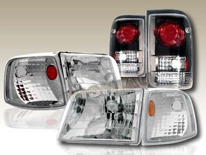 93 97 Ford Ranger Clear Headlights Corner Lights Black Altezza Tail Lights