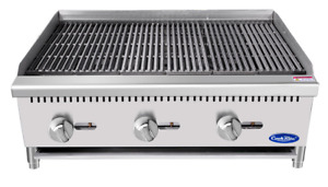 New 36 Lava Rock Charbroiler Grill Atosa Atcb 36 2544 Commercial Steak Burger
