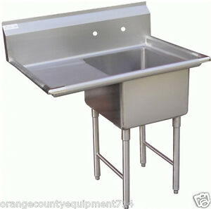 New 1 Compartment Food Prep Sink Left Drain Board Nsf 1004 Drain Commercial