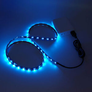 3ft 5v Usb Led Strip Light Blue Bias Lighting Waterproof For Car Tv Power Bank