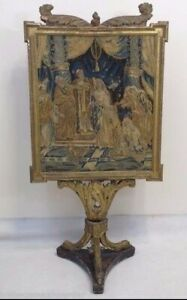Antique Italian Carved Gilted Firescreen W Great Needlepoint Tapestry