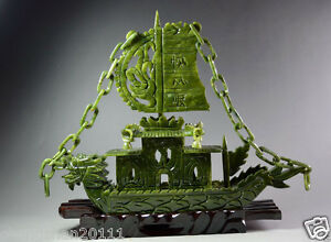 Chinese 100 Natural Jade Hand Carved Dragon Incense Statue Dragon Ship