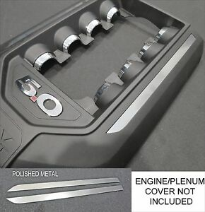 Polished Metal Engine Plenum Cover Kit Decals Fit 2011 2014 Ford Mustang 5 0 V8