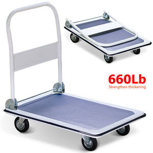 660lbs Strengthenthickening Platform Cart Dolly Folding Foldable Push Hand Truck