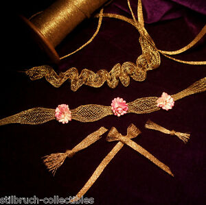 Antique Vintage French Gold Metal Mesh Trim For Rococo Ruching Ribbon Work 1 8