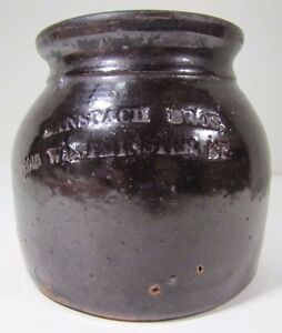 Antique Banspach Bros Stoneware Crock Old Brown Decorative Art Providence Ri