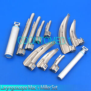 Laryngoscope Mac Miller Set Of 9 Blades 2 Handles Emt Anesthesia Intubation
