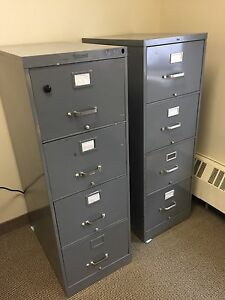 2 Four Drawer Metal Filing Cabinets