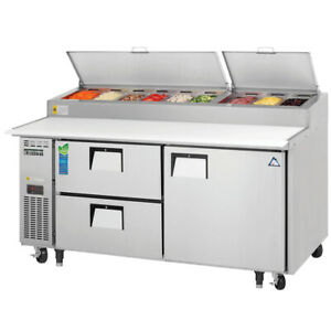 New 2 Drawer 1 Door Refrigerated Pizza Prep Table Everest Eppr2 d2 3954 Nsf