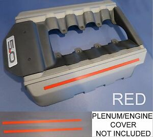 Red Engine Plenum Cover Strips Decals Fit 2015 2017 15 17 Ford Mustang 5 0 V8