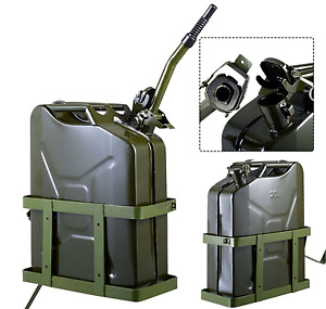 Fuel Tank Jerry Can Gasoline Storage Military 5 Gal 20l Green W Holder Container