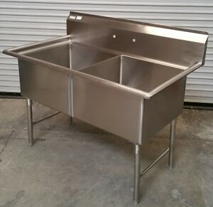 New 2 Compartment 24x24 Sink All Stainless Steel 2639 Commercial Food Nsf