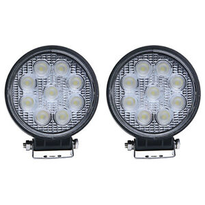 2pcs 4inch 27w Led Work Light Floo Round Offroad Boat Tractor Truck Suv Fog Lamp
