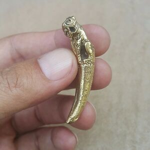 Tiger Canine Tooth Thai Amulet Brass Magic Holy Wealth Lucky Powerful Healthy