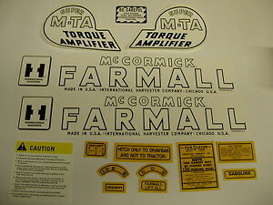 International Ihc Farmall Super Mta Gas Tractor Decal Set New Free Shipping